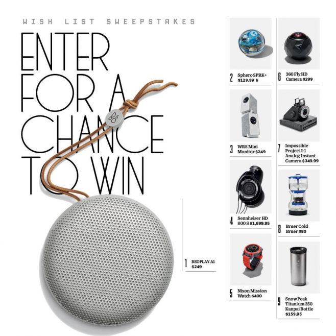 WIRED Wish List 2016 Sweepstakes