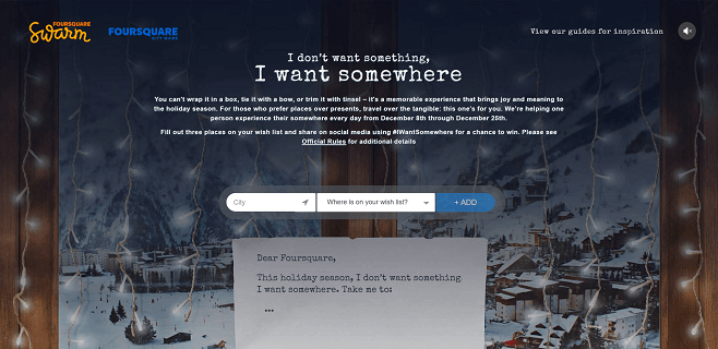 Foursquare I Want Somewhere 2016 Holiday Promotion
