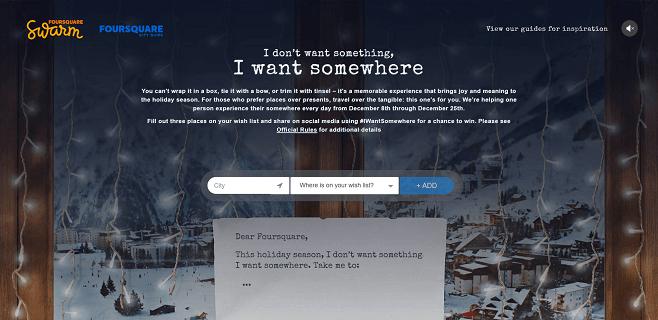 Foursquare I Want Somewhere 2016 Holiday Promotion
