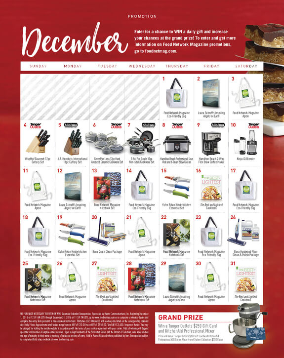 Food Network Magazine December Calendar Sweepstakes