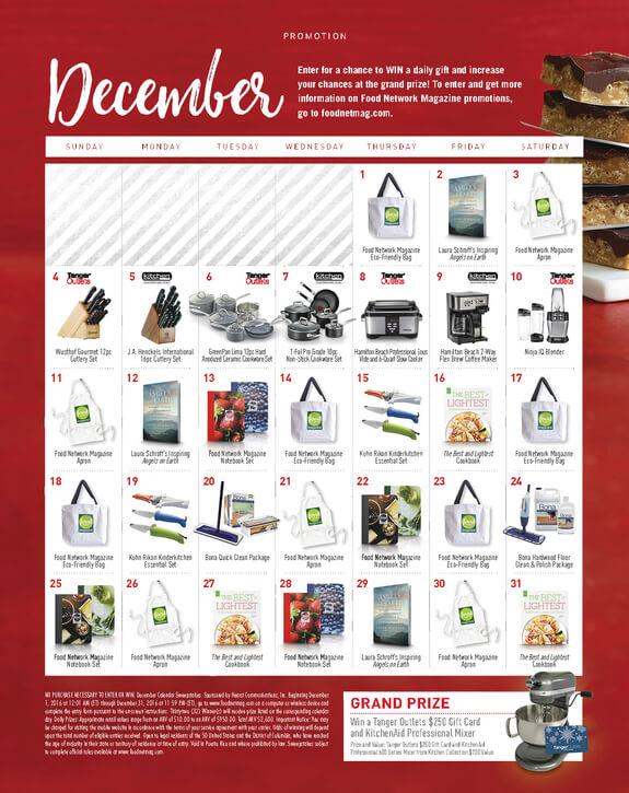 Food Network Magazine December Calendar Sweepstakes