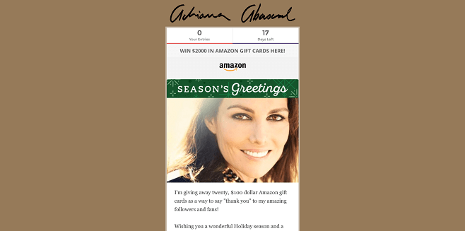 Adriana Abascal Amazon Gift Card Giveaway