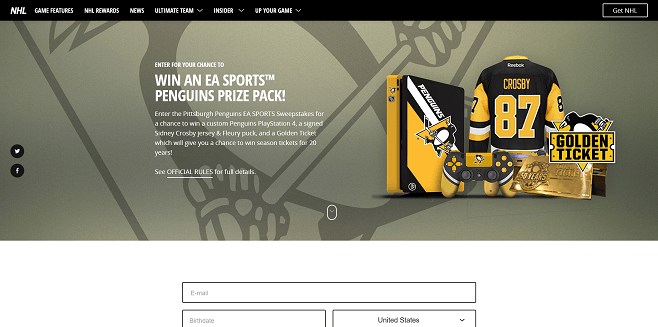 Pittsburgh Penguins EA SPORTS Sweepstakes
