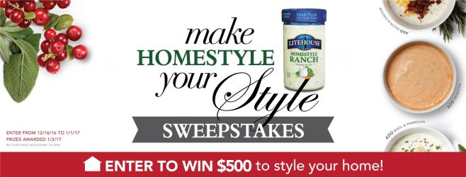 Litehouse Make Homestyle Your Style Sweepstakes