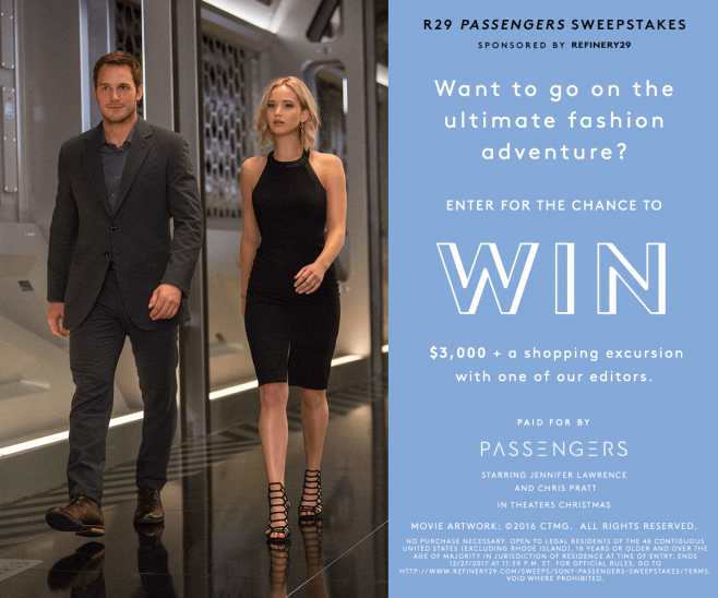 Refinery 29 Passengers Sweepstakes