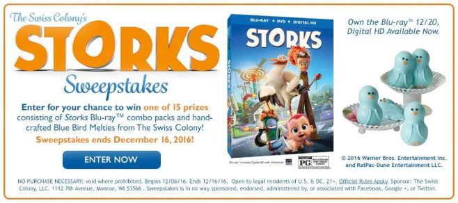 The Swiss Colony's Promotion of Storks Sweepstakes