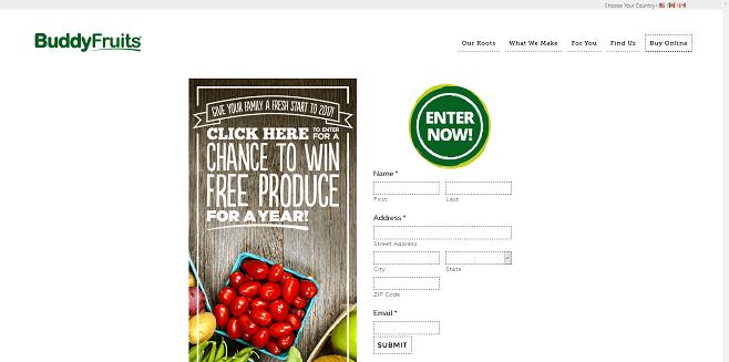 Buddy Fruits 2017 Free Produce Sweepstakes
