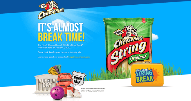 Frigo Cheese Heads Bite Size String Break Sweepstakes (TakeAStringBreak.com)