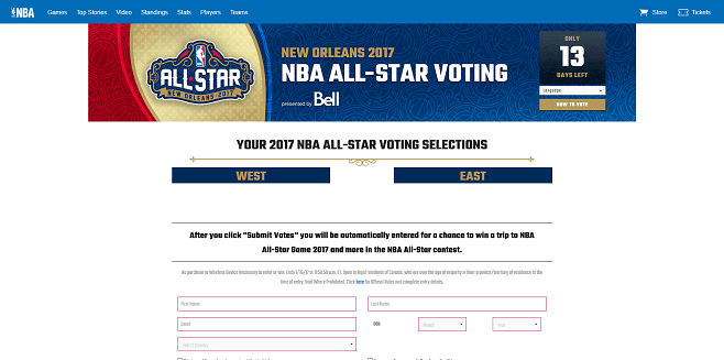 NBA All-Star Voting 2017 Sweepstakes