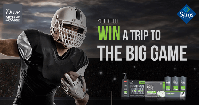 Sam's Club Dove Men + Care Big Game Sweepstakes 2017 (DoveMenBigGame.com)
