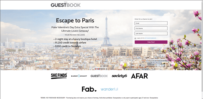 The Guestbook Escape to Paris Sweepstakes