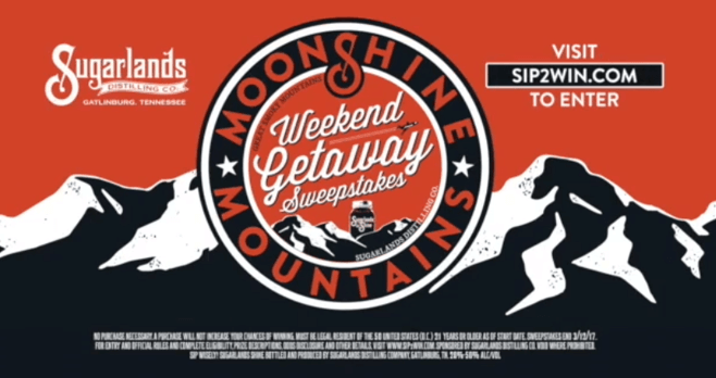 Moonshine and Mountains Weekend Getaway Sweepstakes (Sip2Win.com)