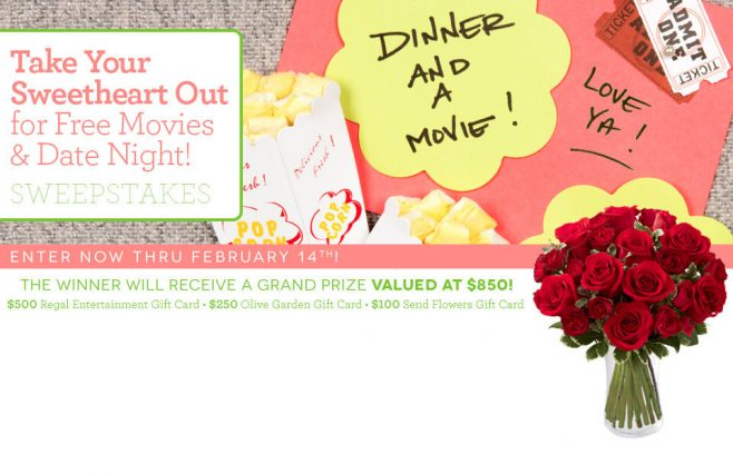 Send Flowers Take Your Sweetheart Out for Free Movies & Date Night! Sweepstakes