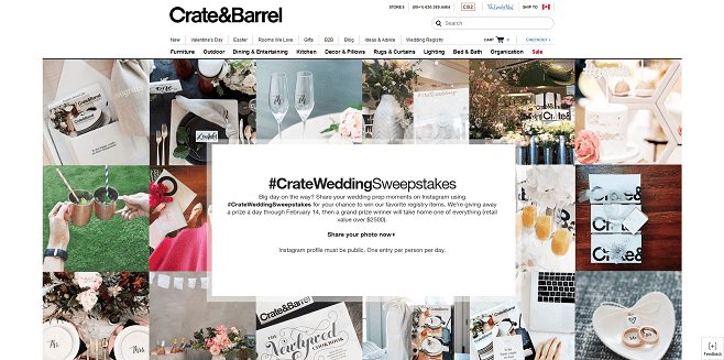 Crate&Barrel #CrateWeddingSweepstakes