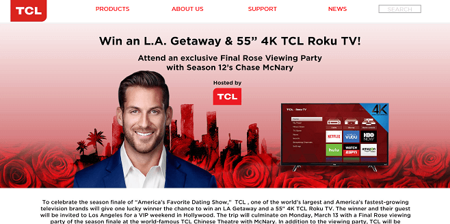 TCL Final Rose LA Getaway Sweepstakes