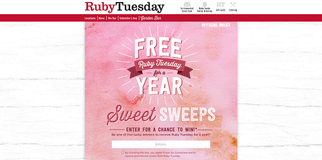 Ruby Tuesday For a Year Sweepstakes