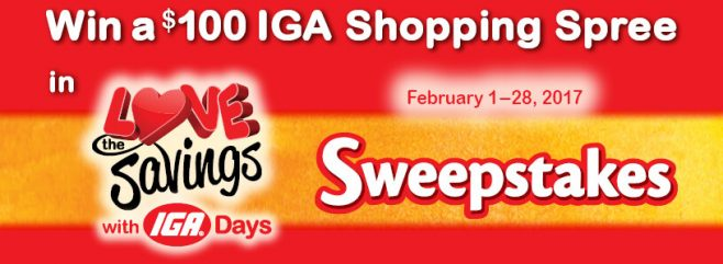 2017 IGA Love the Savings Sweepstakes