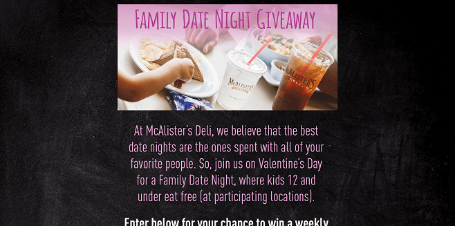 McAlister's Deli Valentine's Family Date Night Sweepstakes