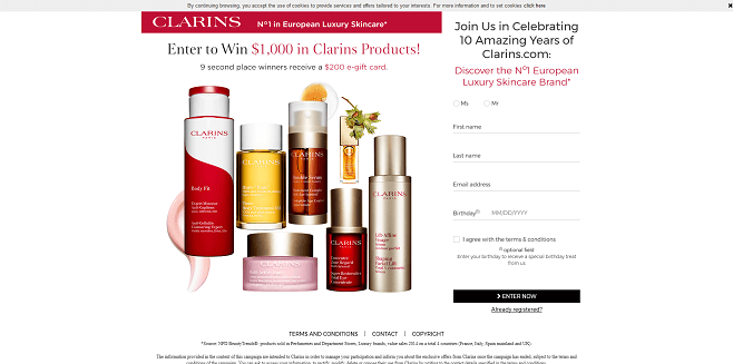 Celebrating 10 Years of Clarins.com Sweepstakes