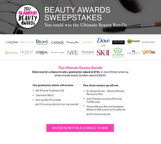 GLAMOUR Beauty Awards Sweepstakes