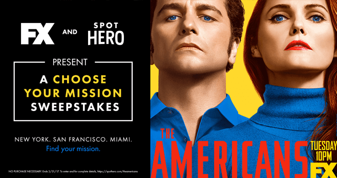 SpotHero & FX The Americans Choose Your Mission Sweepstakes (SpotHero.com/TheAmericans)
