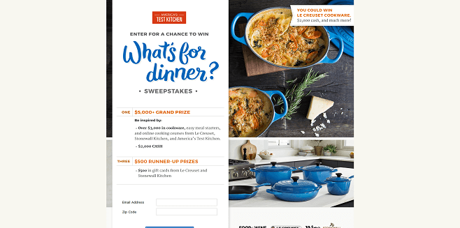 America's Test Kitchen What's for Dinner Sweepstakes