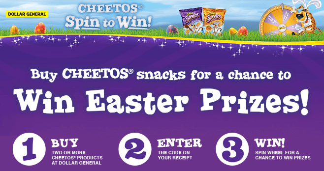 Cheetos Easter Spin To Win Game At Dollar General (CheetosSpin2WinAtDG.com)