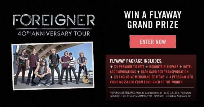 Foreigner I Want To Know What Love Is Flyaway Sweepstakes