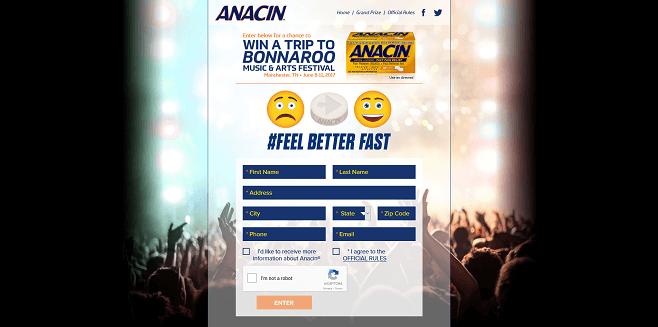 Anacin Bonnaroo VIP Sweepstakes