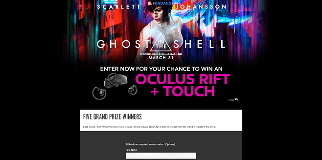 Fandango's Ghost in the Shell Sweepstakes