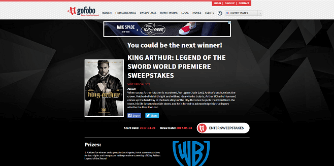 Gofobo King Arthur Legend Of The Sword World Premiere Sweepstakes