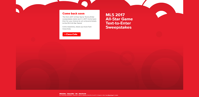 Coca-Cola MLS 2017 All-Star Game Text-to-Enter Sweepstakes