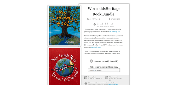 GeneaBloggers kidsHeritage Book Contest