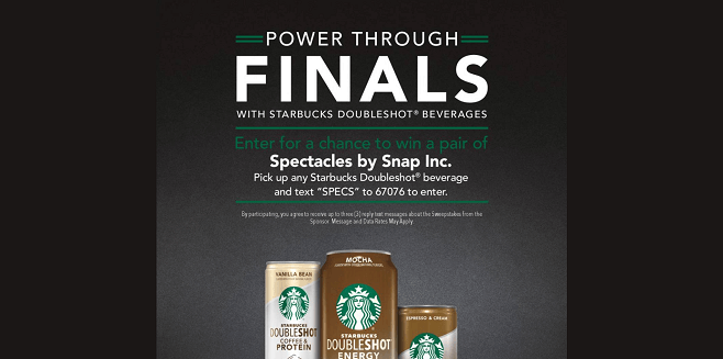 Starbucks Doubleshot Power Through Finals 2017 Sweepstakes