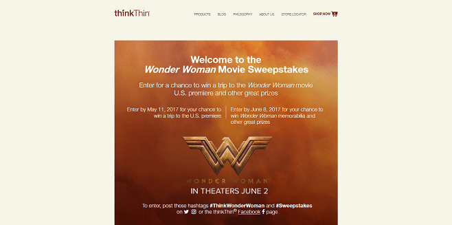thinkThin Wonder Woman Sweepstakes