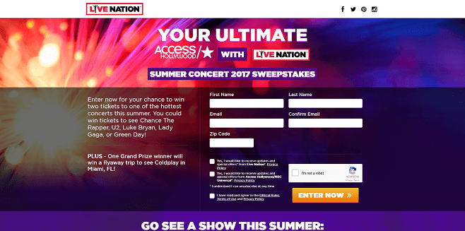 Your Ultimate All Access Hollywood With Live Nation Summer Concert 2017 Sweepstakes