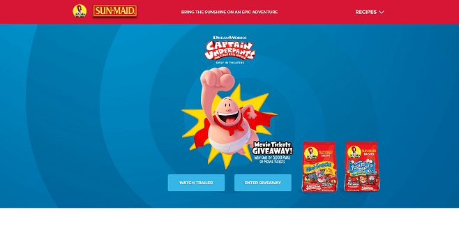 Sun-Maid's Captain Underpants Instant Win