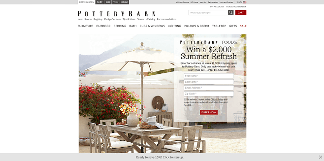 Pottery Barn and Food52 Sweepstakes