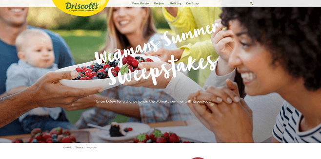 Driscoll's Wegmans Food Markets' Menu Magazine Sweepstakes