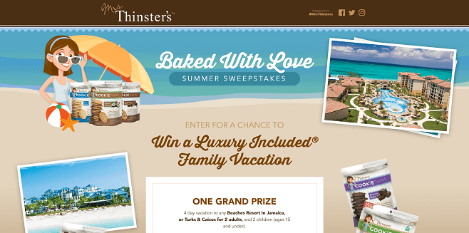 Mrs. Thinster's Baked With Love Summer Sweepstakes