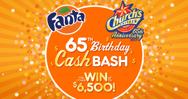 Church's 65th Birthday Cash Bash Instant Win Game