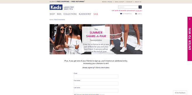 Keds Summer Share-A-Pair Sweepstakes