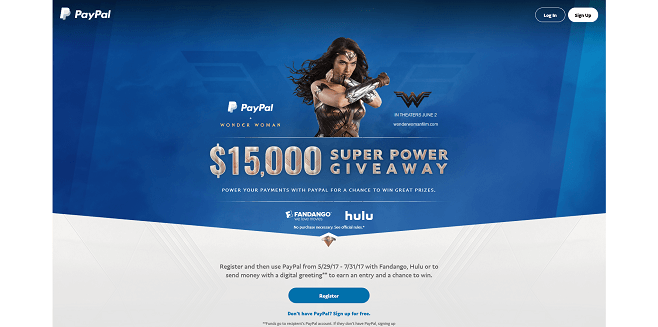 PayPal Wonder Woman Sweepstakes