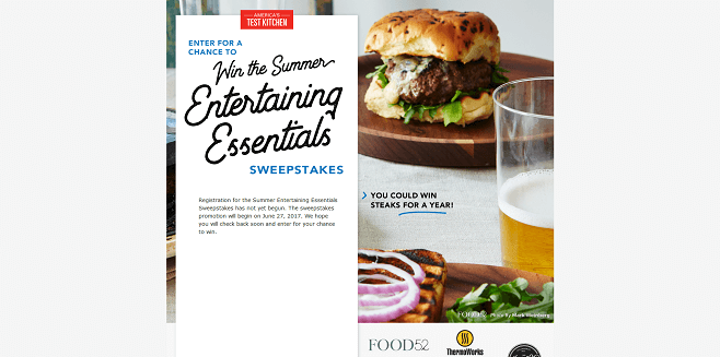 America's Test Kitchen Summer Entertaining Essentials Sweepstakes