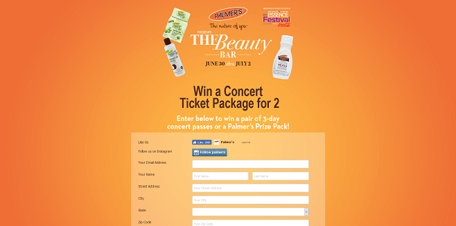 Palmer's Essence Festival Concert Sweepstakes