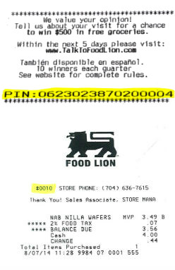 food lion receipt