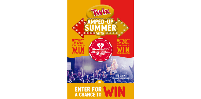TWIX Amped Up Summer Fly Away to the iHeartRadio Music Festival in Las Vegas Sweepstakes