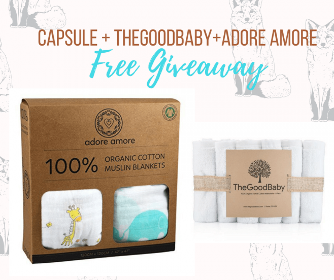 Capsule Labs Organic Cotton Muslin Swaddle Blankets by Adore Amore Giveaway