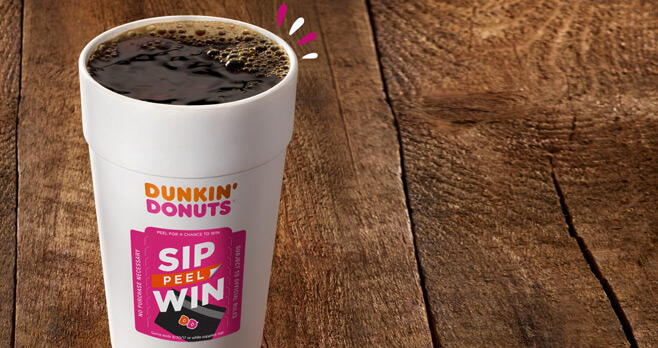 Dunkin' Donuts Sip. Peel. Win. Instant Win Game