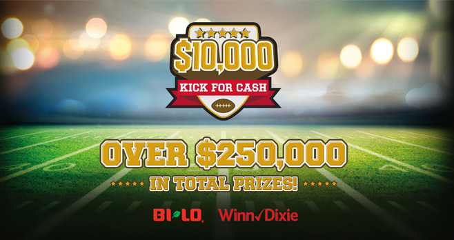Winn-Dixie And BI-LO $10,000 Kick for Cash Instant Win Game